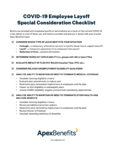 COVID-19 Employee Layoff Special Consideration Checklist